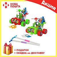 Каталка для ребенка на палочке красный Вертолет 0867 | детская игрушка | крутится пропеллер и каруселька, фото 1