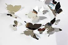 """Наклейка на стену, виниловые наклейки, украшения стены наклейки """"наклейки 3D бабочки зеркальные 12шт, фото 2"""