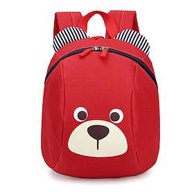 Детский рюкзак Мишка с ремешком и анти-потерянным ремнем Красный (gab_krp220MAhj41410)