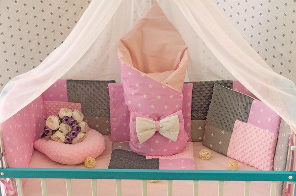 Комплект детского постельного белья в кроватку,  Минки, разные цвета розовый