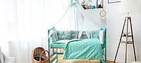 """Большой набор постельного белья с подушками и одеялом в кроватку """"Лесные звери"""" в расцветках мятный с серым, фото 1"""