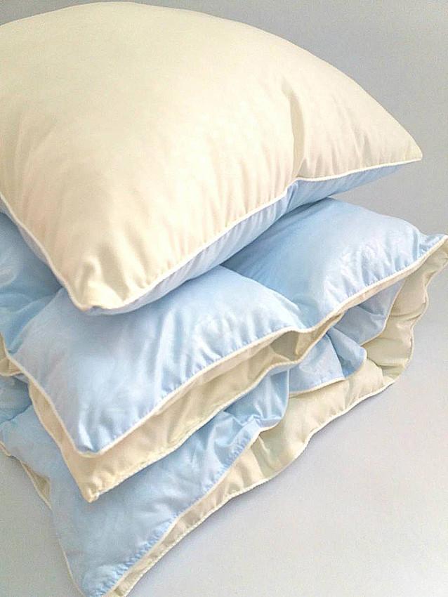 Комплект детский  одеяло и подушка в кроватку голубой