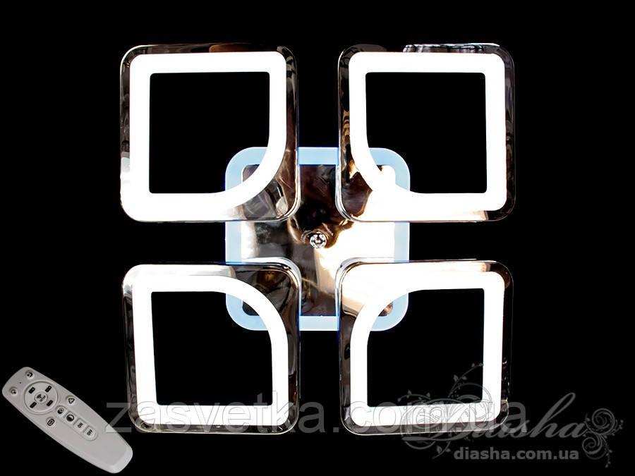 Светодиодная люстра с пультом и LED подсветкой, цвет хром, 80W  S8060/4HR LED dimmer