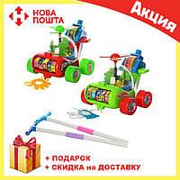 Каталка для ребенка на палочке зеленый Вертолет 0867 | детская игрушка | крутится пропеллер и каруселька, фото 1