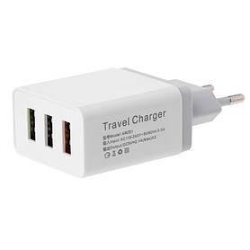 Зарядное устройство UKC Fast Charge AR 001 c 3 USB портами  Белый (008354)
