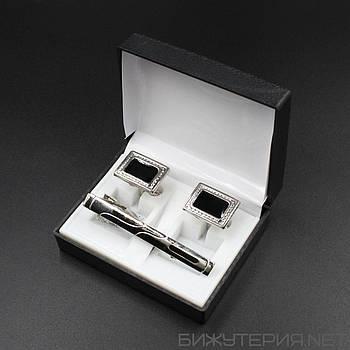 Набор 2 запонки и зажим для галстука в коробке JB - 1027740829