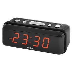 Настольные часы с красной подсветкой VST 738 Черный (008406)