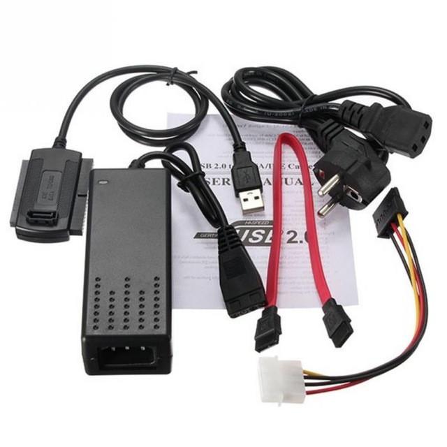 Переходник USB 2.0 to SATA IDE 2.5/3.5 c блоком питания Черный (000639)
