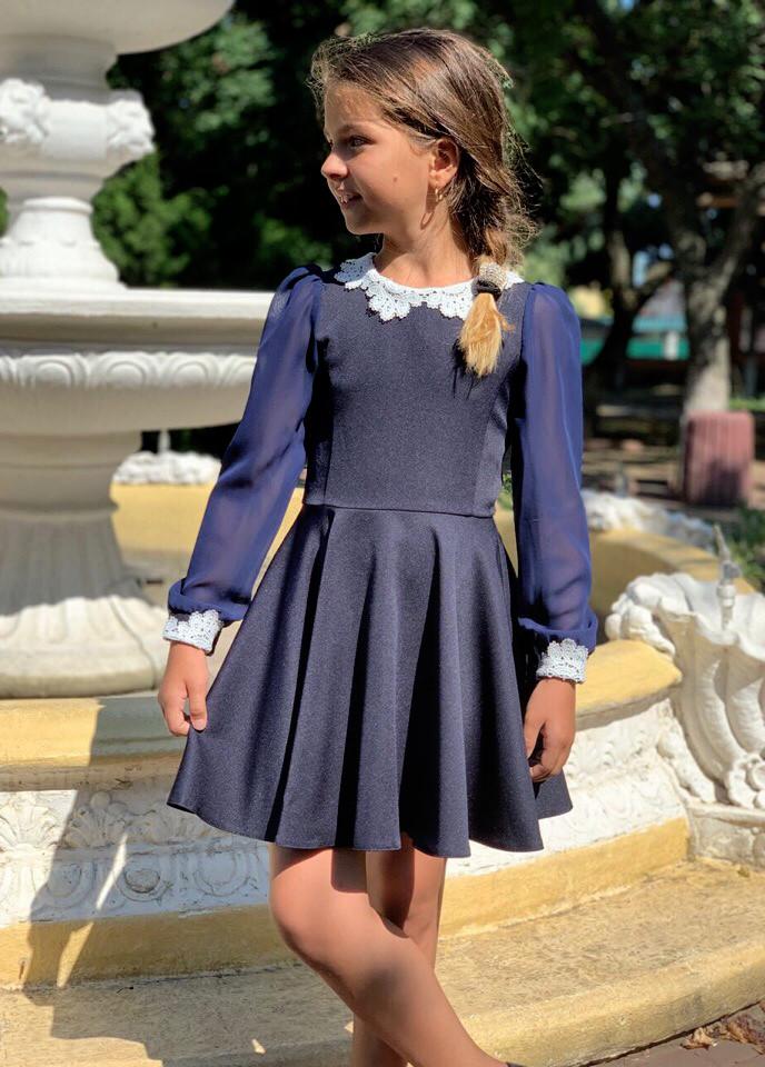 """Детское стильное школьное платье 671 """"Клёш Рукава Шифон Макраме"""" в расцветках"""