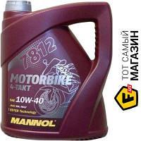 Всесезонное моторное синтетическое масло Mannol для двигателей тип бензиновый 10w-40 4 7812 Motorbike 4-Takt 10W-40 SL 4л