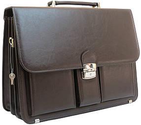 Деловой портфель из эко кожи AMO Коричневый (SST10 brown)