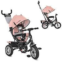 Велосипед M 3113AL-10 три кол.резина ,колясочный,торм.,подшипн,звонок,кожа,нежно-роз.