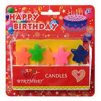 Аксессуары для праздника SZ-320  свечи, 5шт, 6см,звезда, на палочке, на листе,15-16-2см