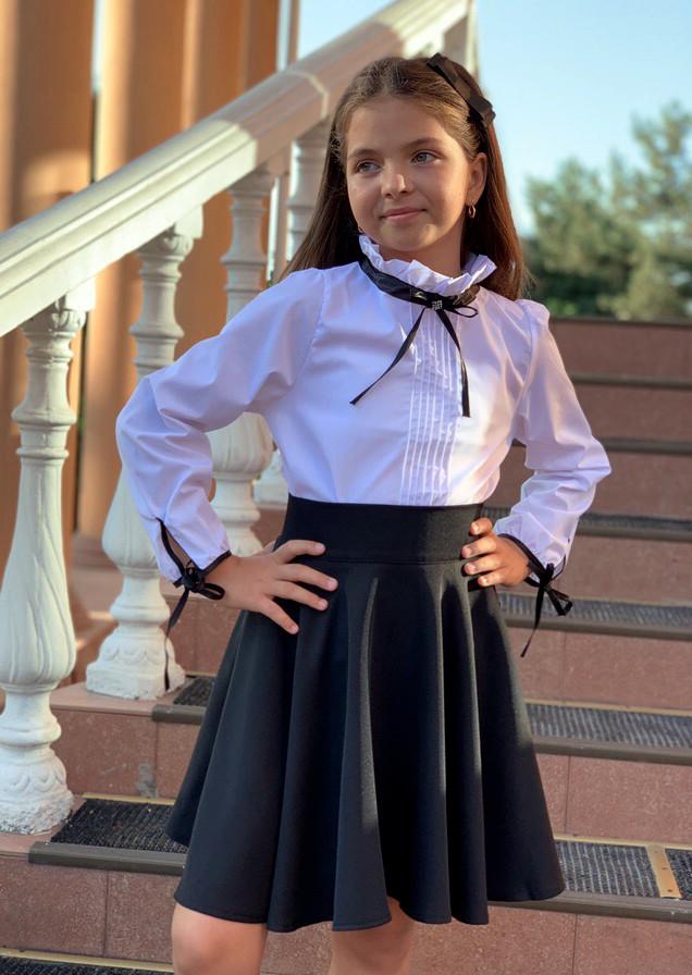 """Детская нарядная школьная блузка 717 """"Хлопок Бантик Завязки Ленты"""" в расцветках"""