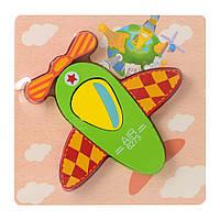 Деревянная игрушка Пазлы 15X15-1  самолет, в кульке, 14,5-14,5-1,5см