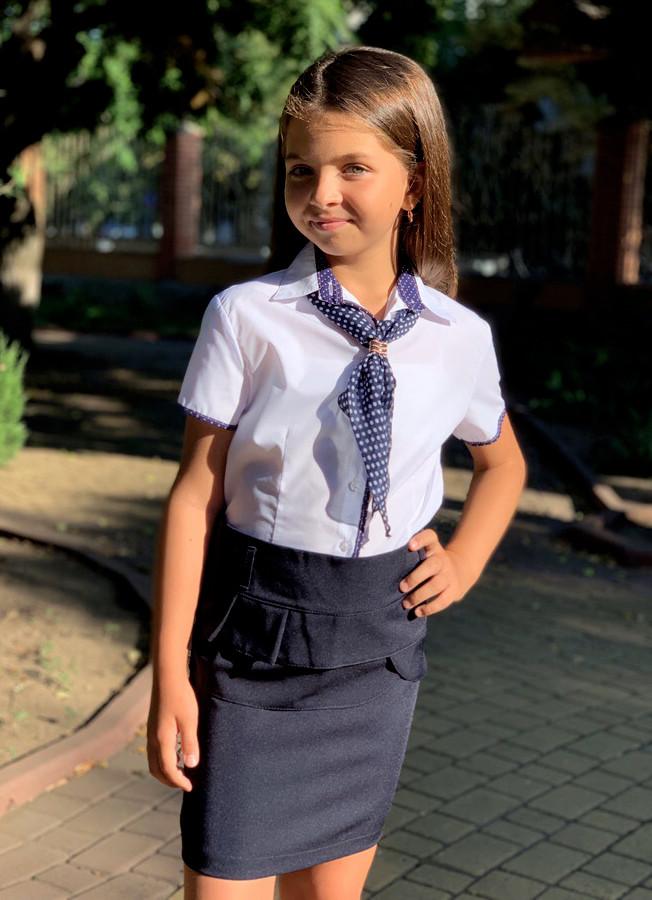"""Детская стильная школьная блузка-рубашка 632 """"Хлопок Кант Галстук Горох"""" в расцветках"""