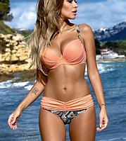 Красивый раздельный купальник оранжевый 3037