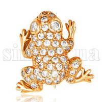 Золотая брошь Царевна Лягушка с цирконием 5836