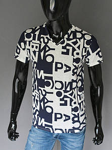 Мужская футболка синия с белым Турция 2435