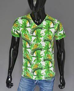 Мужская футболка белая с зеленым Турция 2417