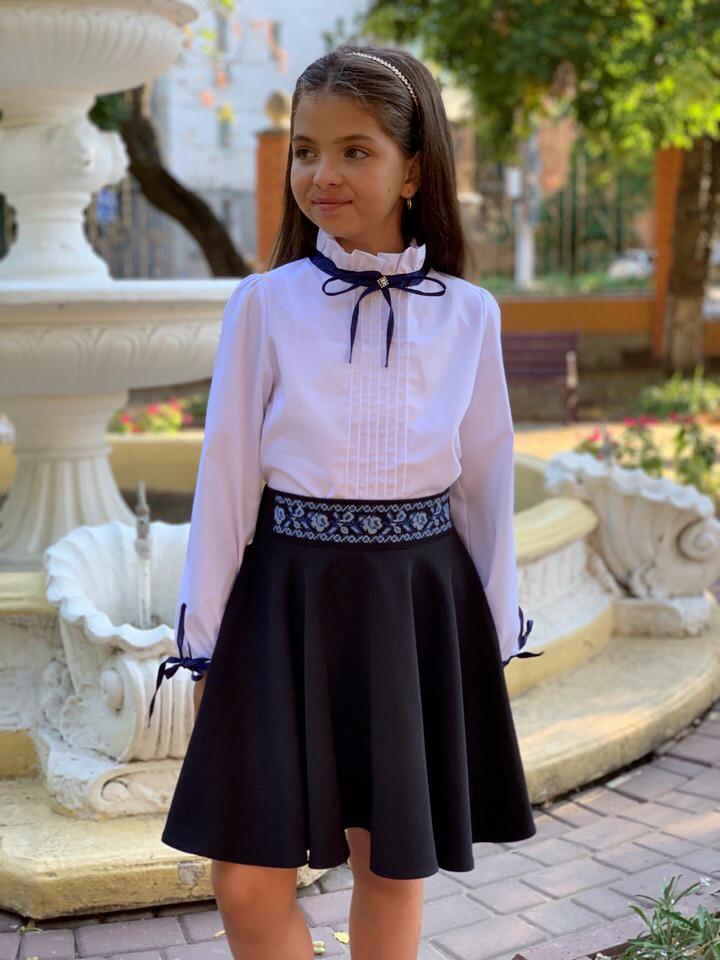 """Детская стильная юбка 614-5 """"Мадонна Клёш Пояс Вышивка"""" в школьных расцветках"""