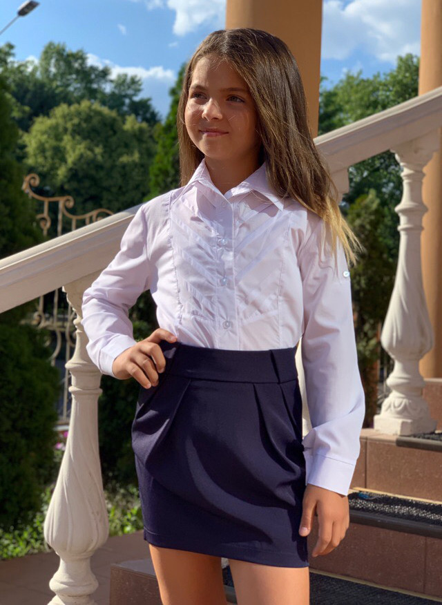 """Детская стильная короткая юбка 568 """"Защипы Кармашки"""" в школьных расцветках"""