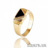 Мужской золотой перстень с эмалью и цирконием 6604