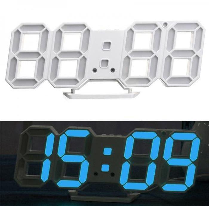 Электронные Led часы с будильником и термометром Caixing Cx-2218, blue