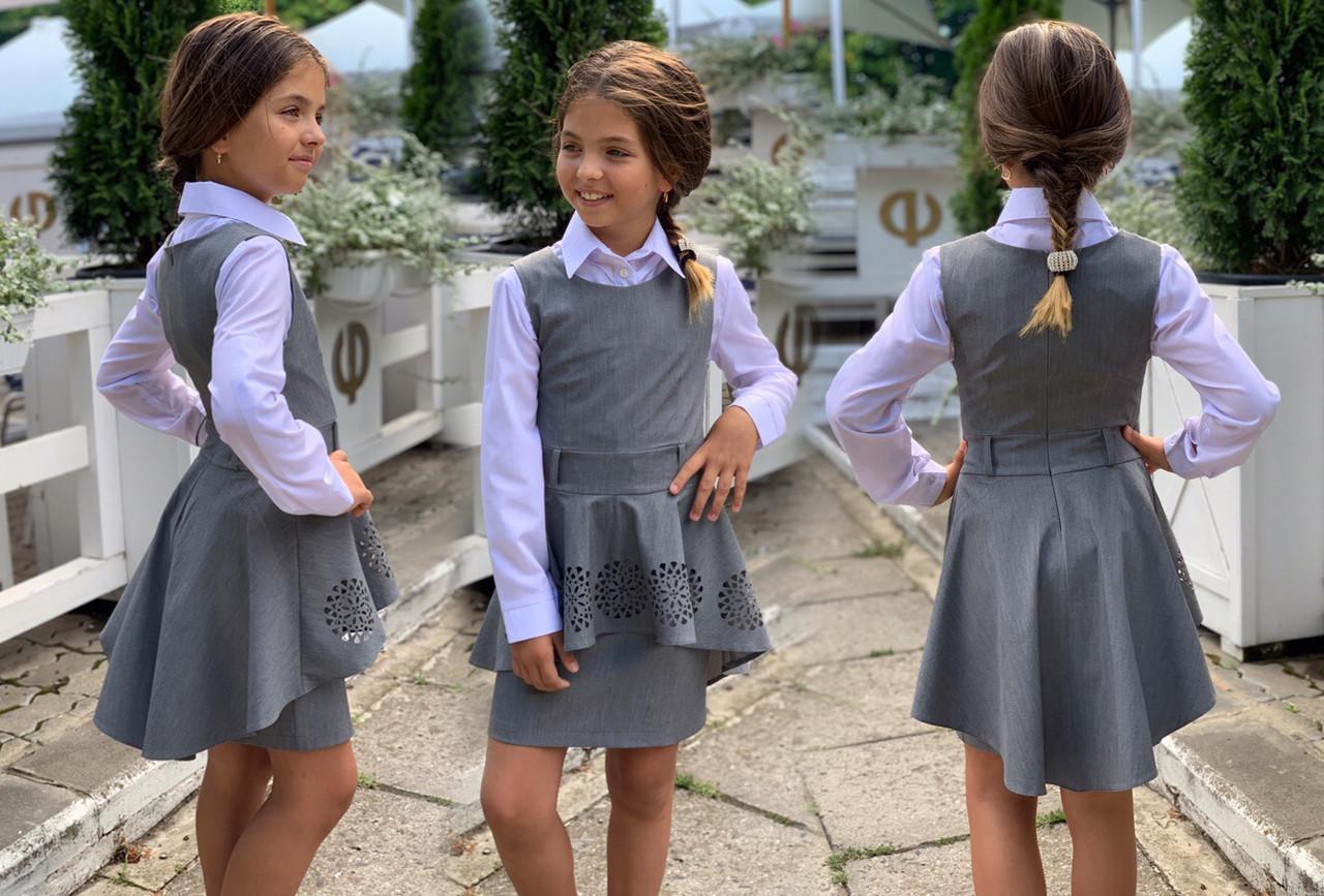 """Детский стильный школьный сарафан 654 """"Ассиметрия Баска Перфо"""" в расцветках"""