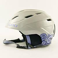 Гірськолижний шолом Giro сріблястий з фіол.квітами глянець (H-030) - S 52-55.5 см