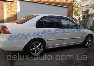 Ветровики Cobra Tuning на авто Honda Civic VII Sd 2001-2005 Дефлекторы окон Кобра для Хонда Цивик 7 седан 2001