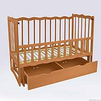 """Кроватка деревянная маятник+шухляда - откидной, """"Волна"""", ольха - цвет светло-коричневый"""