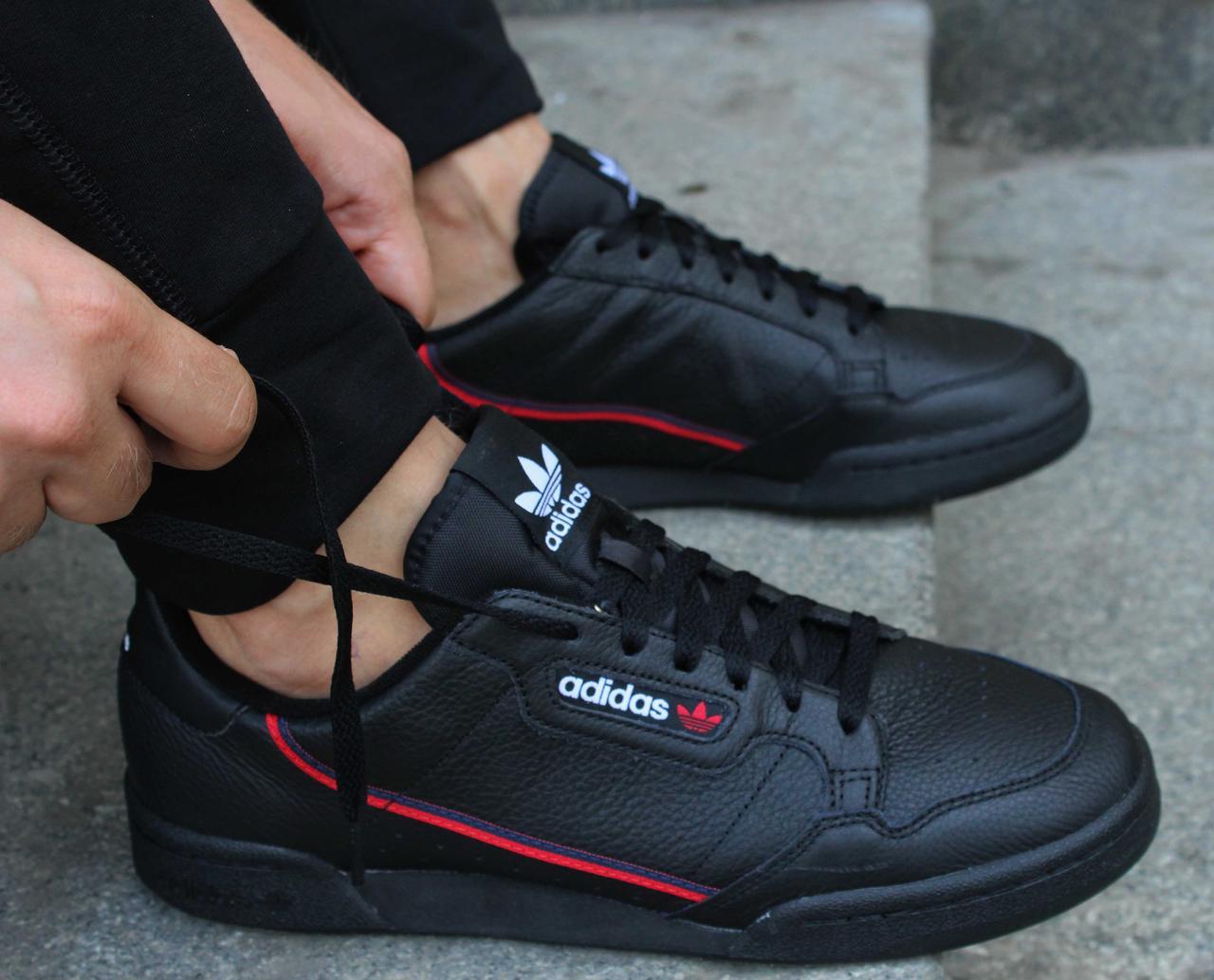 Фирменные черные кожаные кроссовки adidas Originals Continental 80 G27707