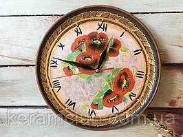 Настенные часы с ручной росписью маки d 25 см