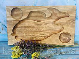 Деревянная доска из дуба для подачи рыбы 41х24 см
