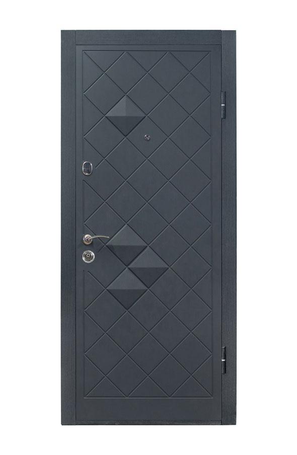 Входные двери 3 петли П-3K-112 V Графит декор 3D
