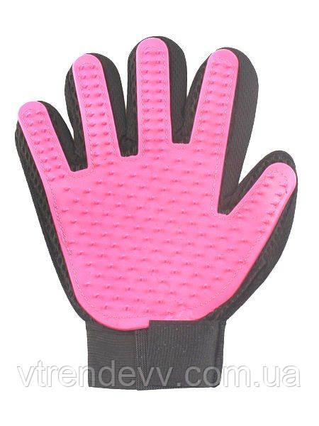 Перчатка для животных True Touch розовая