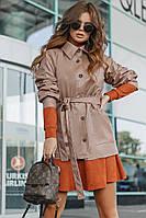 """Кожаная женская куртка на пуговицах """"Lyons"""" с поясом и карманами"""