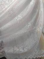 """Белая жаккардовая тюль с узором """"паутинка и вензеля"""" метражом, высота 2,8 м (Китай)"""