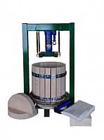 Пресс  с домкратом на 25 литров  для сока   винограда, яблок , овощей с дубовой корзиной.
