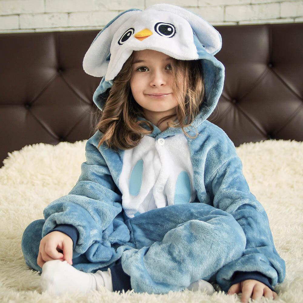 (120, 130, 140 см) Детский кигуруми синяя сова v123