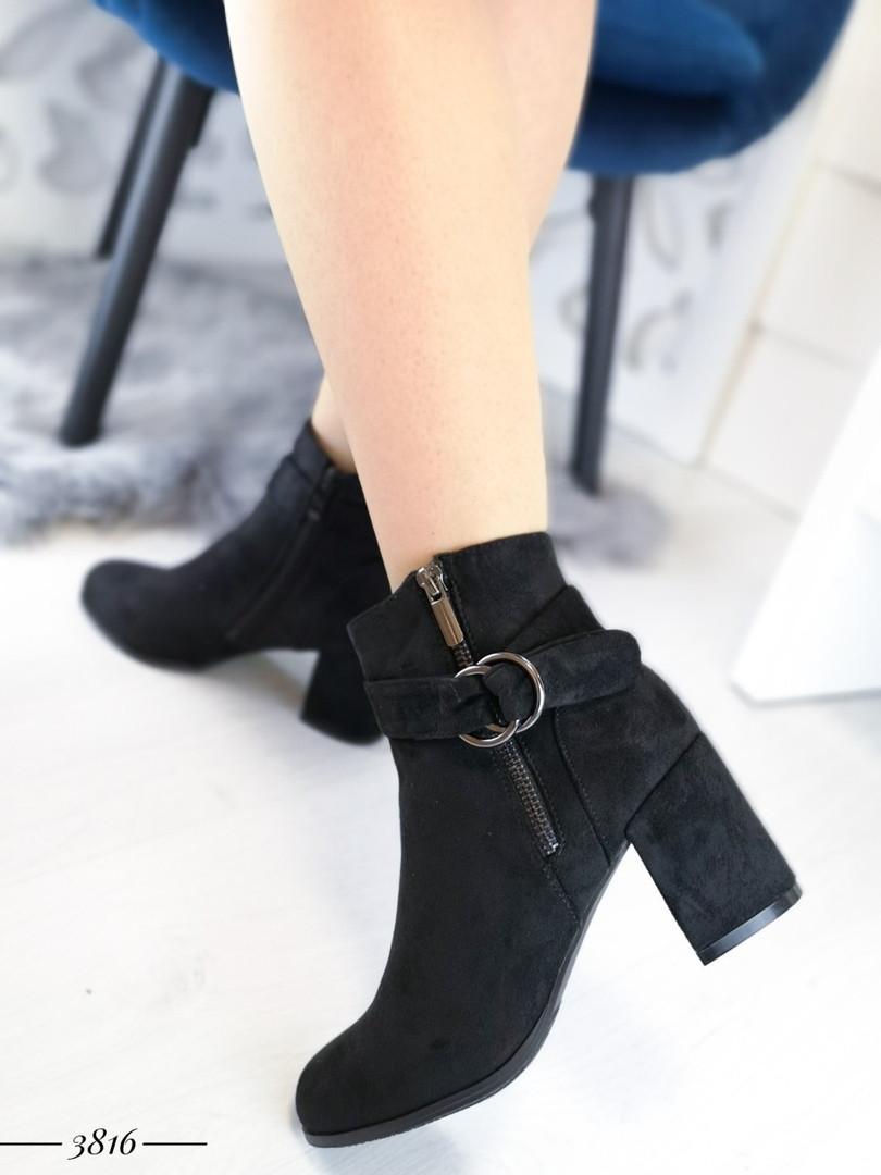 Демисезонные женские ботинки черного цвета, из эко замши 36 ПОСЛЕДНИЕ РАЗМЕРЫ