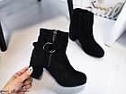 Демисезонные женские ботинки черного цвета, из эко замши 36 ПОСЛЕДНИЕ РАЗМЕРЫ, фото 2