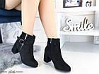 Демисезонные женские ботинки черного цвета, из эко замши 36 ПОСЛЕДНИЕ РАЗМЕРЫ, фото 3