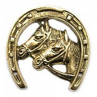 Подкова с лошадьми - бронзовая