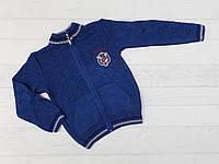 Детская кофта на молнии вязанная для мальчиков 3,4,5 лет джинс