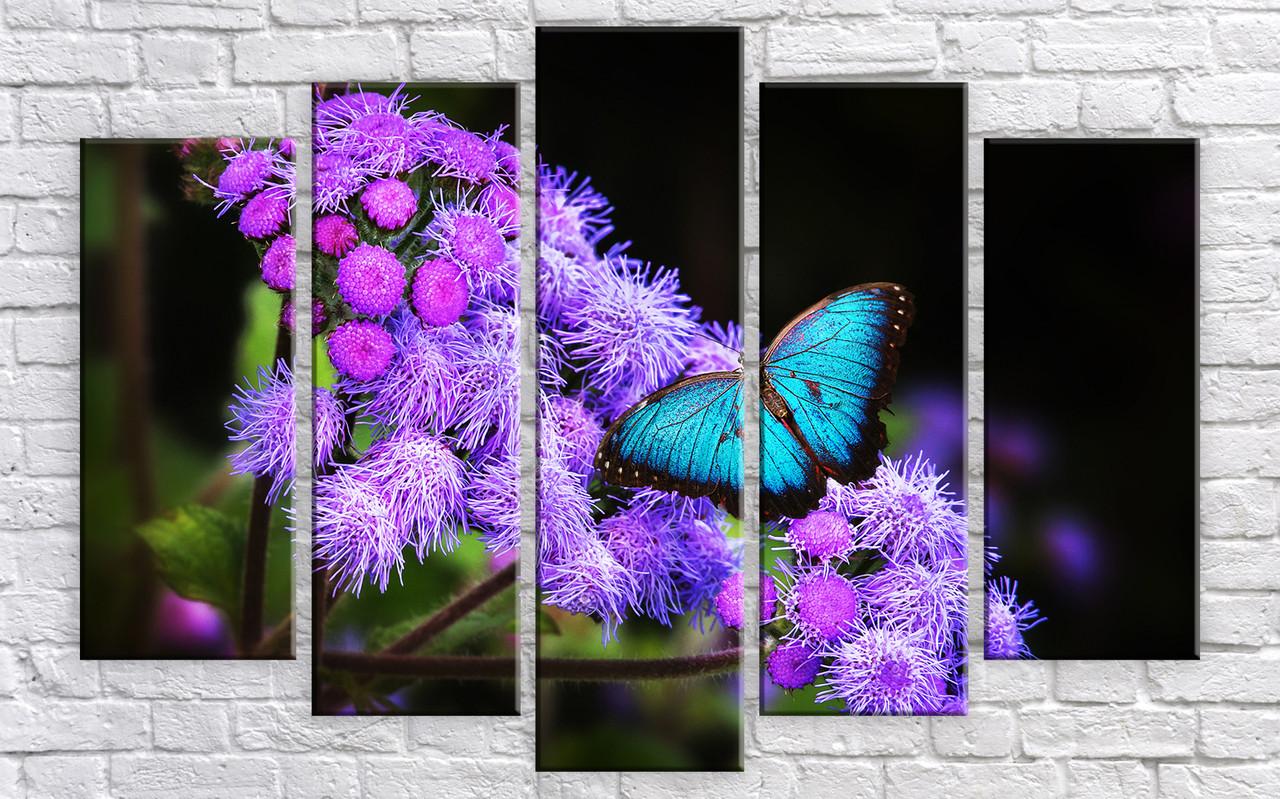 "Модульная картина на холсте ""Бабочка на цветке"""