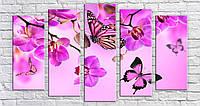 "Модульная картина на холсте ""Бабочки на орхидеях"""