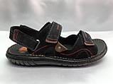 Мужские чёрные сандалии на липучках Detta, фото 2