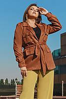 """Замшевая женская куртка-пиджак """"Marion"""" с поясом и карманами (большие размеры)"""